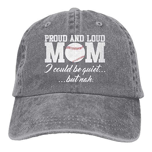 6c67e000fed Men Women Adjustable Denim Jeans Baseball Cap Proud and Loud Baseball Mom  Trucker Cap
