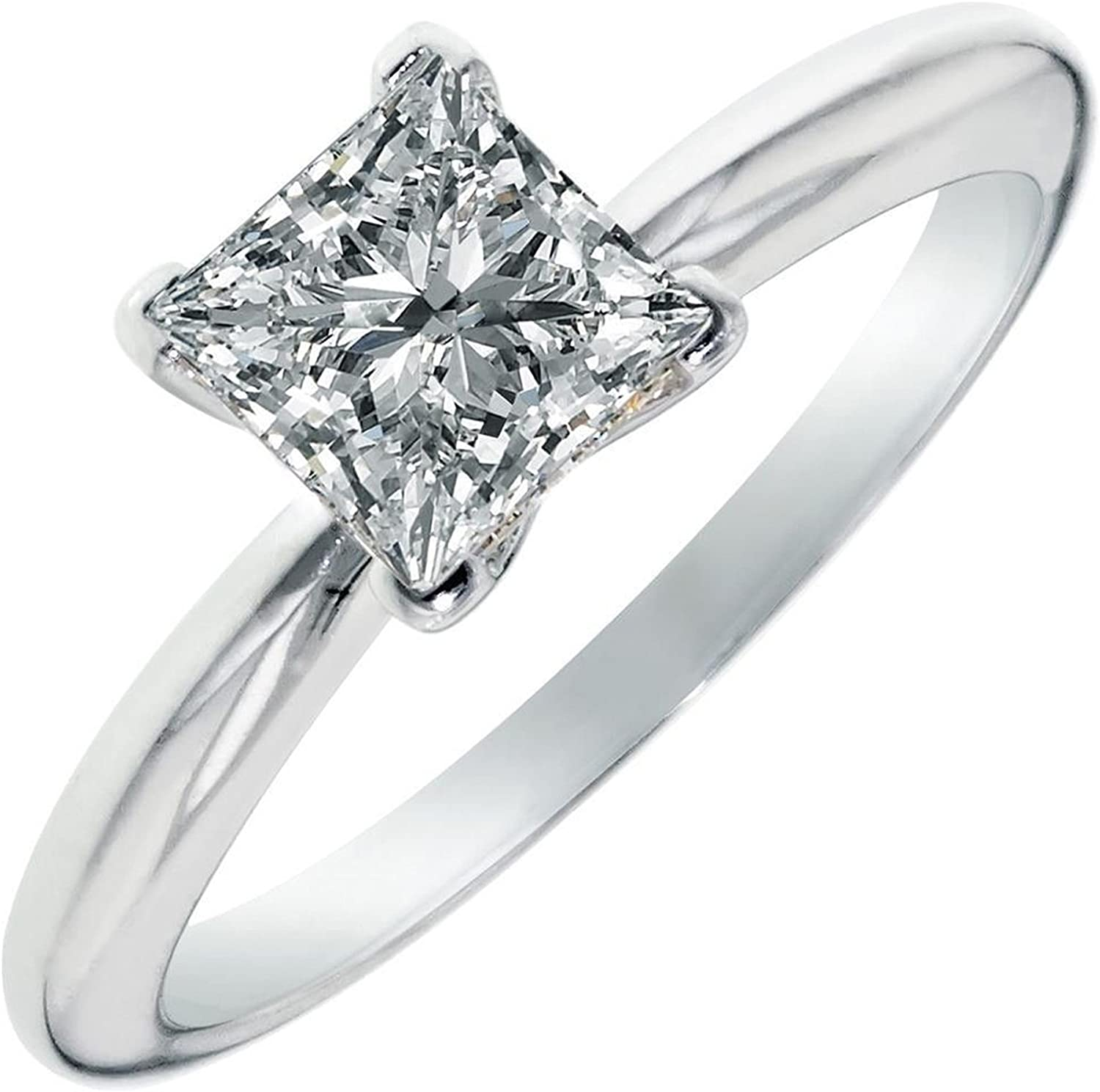 2.0 CT Princess brilliant Cut Simulated Diamond CZ Solitaire Engagement Wedding Ring 14k White Gold