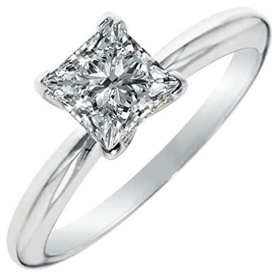 901e02848a Clara Pucci 0.9 CT Princess Cut Solitaire Engagement Wedding Ring 14k White  Gold, Size 3.5