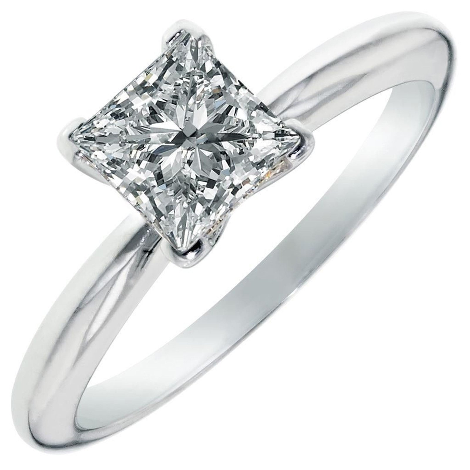 Clara Pucci 0.9 CT Princess Cut Solitaire Engagement Wedding Ring 14k White Gold, Size 5.75