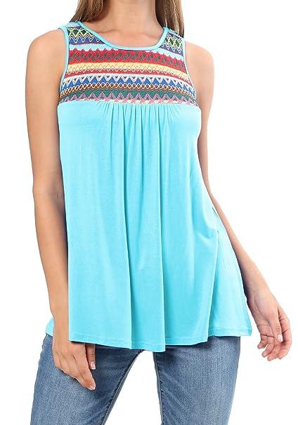 ef793bfeadb levaca Womens Summer Fashion Tank Tops Ethnic Patchwork T Shirts Sky Blue XL