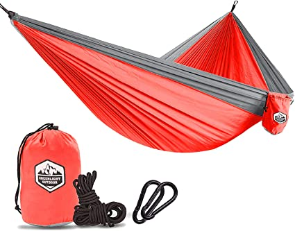 Double Parachute Portable Hammock Original Camping Company Compact Lightweight Easy to Pack The Ultimate Backpacking Camping Accessory Made with Parachute Nylon Steel Carabiners