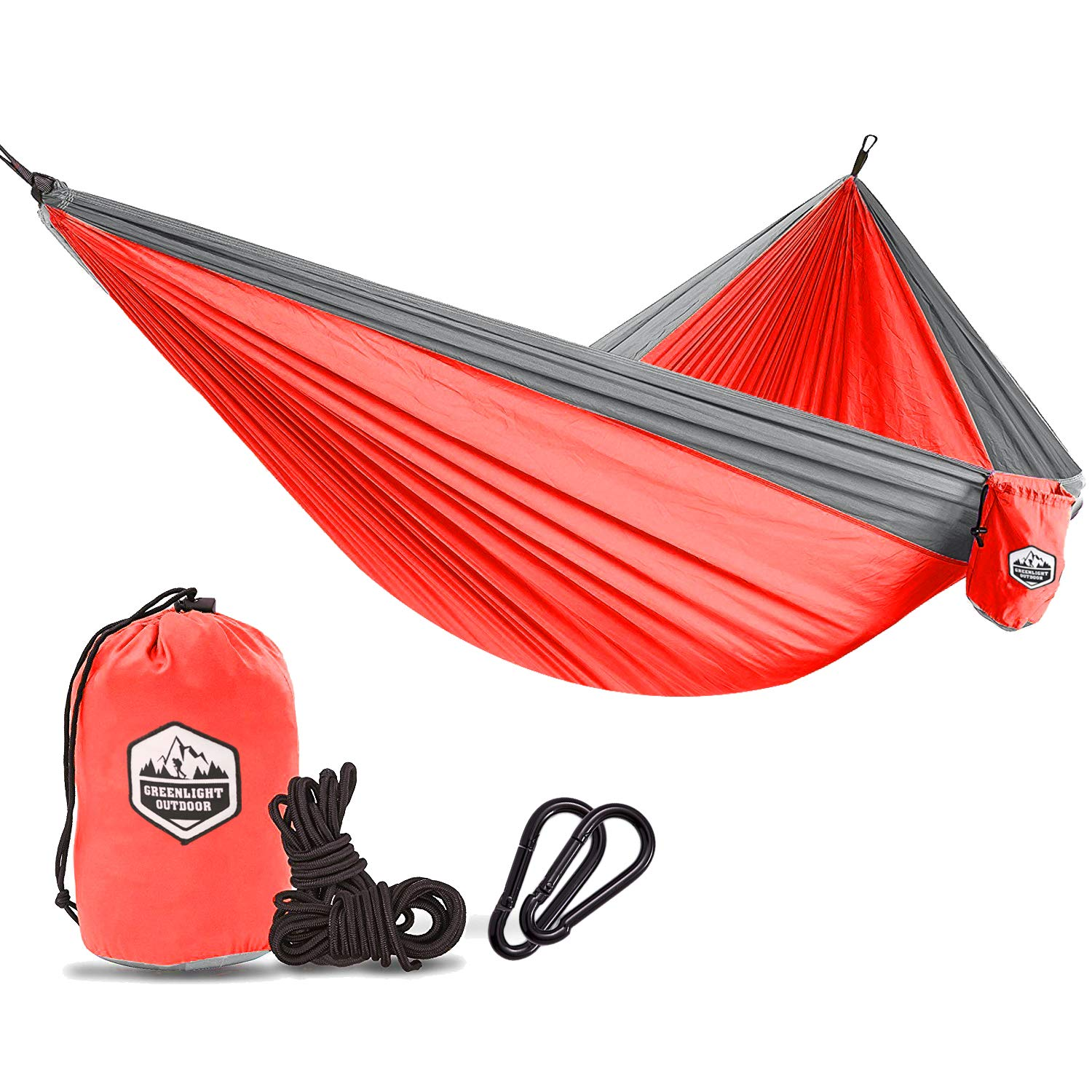 Greenlight Outdoor Camping Single Hammock - Lightweight Parachute Portable Hammocks for Hiking, Travel, Backpacking, Beach, Yard Gear Includes Nylon Straps & Steel Carabiners by Greenlight Outdoor