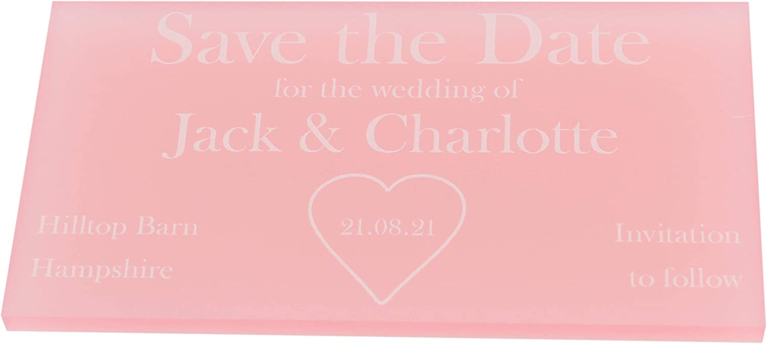 LittleShopOfWishes Clear Acrylic Heart Save The Date Cards Wedding Invitations Personalised Names /& Dates Modern Rustic Ideas