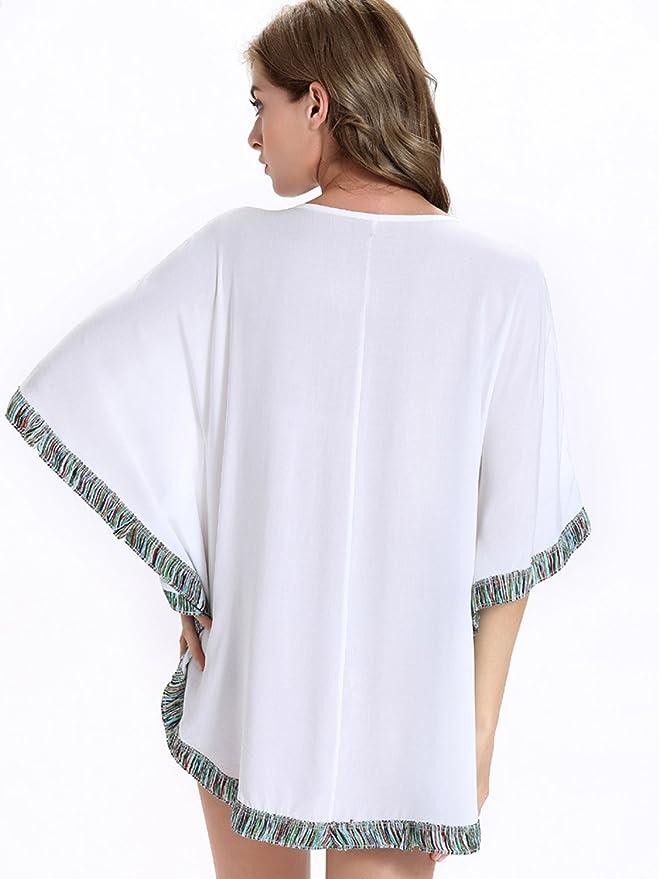 Choies Mujer Blanco Floral Mexicano campesinos bordado Oversized de manga murciélago blusa: Amazon.es: Ropa y accesorios