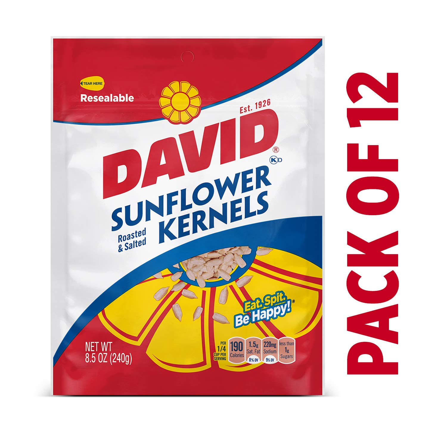 DAVID Roasted and Salted Original Sunflower Kernels, 8.5 oz, 12 Pack by DAVID Seeds