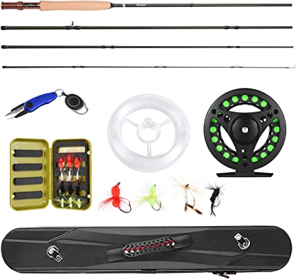 Amazon Com Magreel Fly Fishing Pole Fly Rod And Reel Combo With Portable Lightweight 4 Piece Fly Fishing Rod 9ft Aluminum Fly Reel 12pcs Fly Flies And Fishing Line Scissors With A