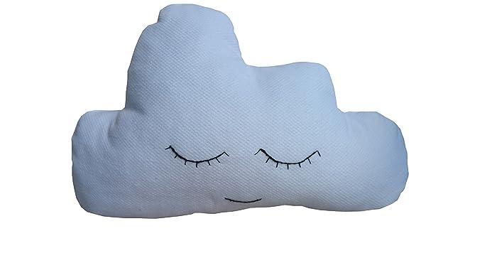 Cojin nube azul con ojitos bordados Cojin nube infantil cojin bebe
