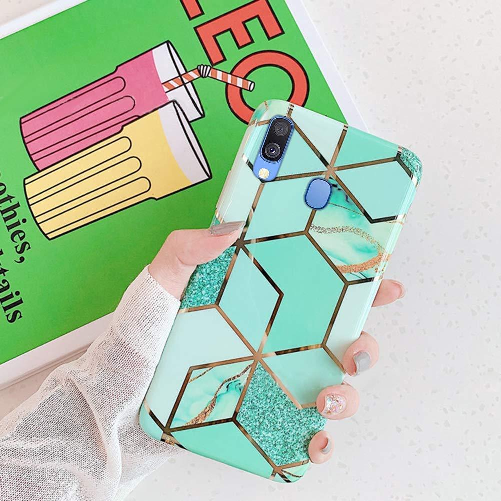 Ultra Delgado Bumper Case,Rosa azul Saceebe compatible con Galaxy A40 Funda Carcasa Silicona TPU,Moda Carcasa de TPU Soft M/ármol Flexible Silicona Estuche Cover Caja Anti Rasgu/ños