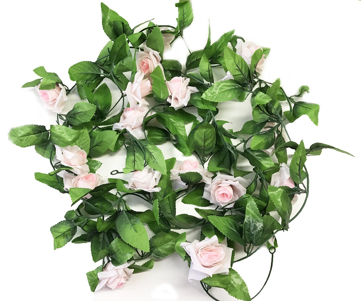 Meiliy 2 Pack 15 FT Fake Rose Vine Flowers Plants Artificial Flower Home Hotel Office Wedding Party Garden Craft Art Décor, Champagne