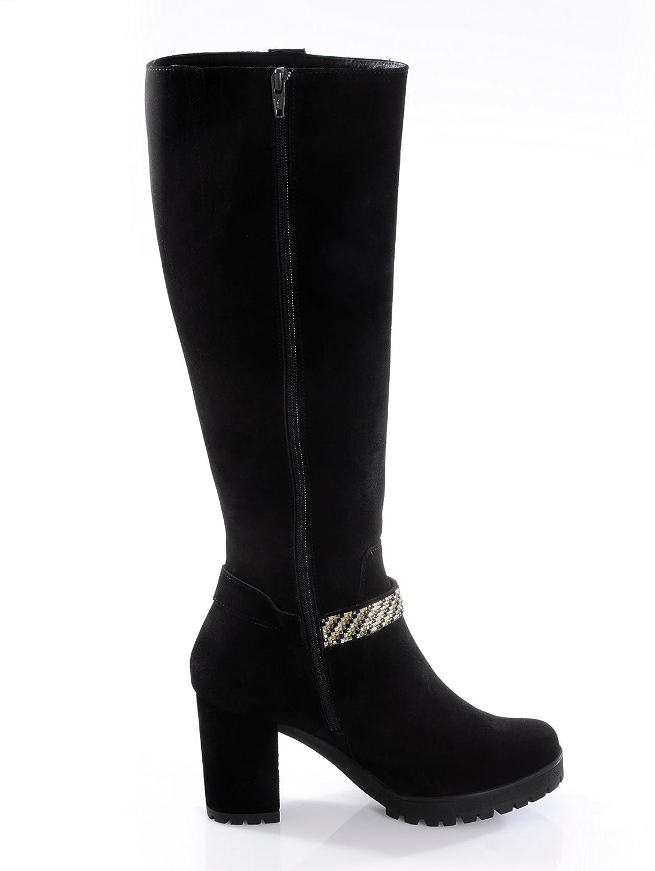 Alba Moda Damen Stiefel mit Schmuckband und Zierbändern