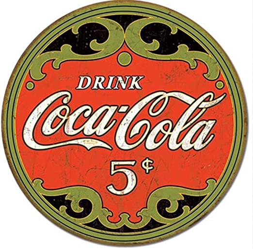 Coca-Cola 1930/'s Bottle ROUND TIN SIGN Metal Vintage Restaurant Bar Ad