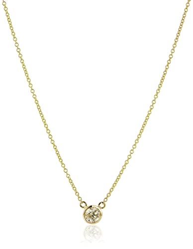 14k Gold Bezel Set Solitaire Adjustable Pendant Necklace
