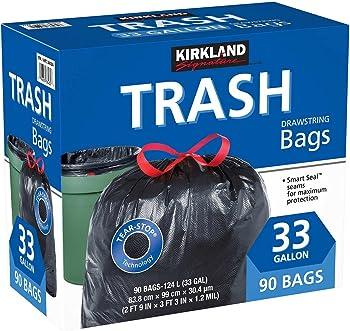 Kirkland Signature 33 Gallon Drawstring Trash Bags