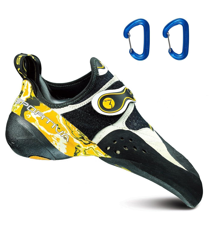 La Sportiva Men's Solution Rock Climbing Shoe White/Yellow w/ 2 Wiregate Carabiners - 40