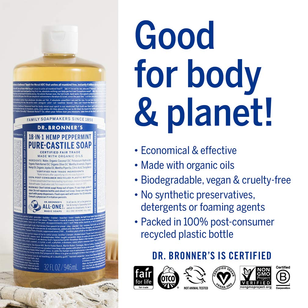 Dr  Bronner's - Pure-Castile Liquid Soap (Peppermint, 32 ounce) - Made with  Organic Oils, 18-in-1