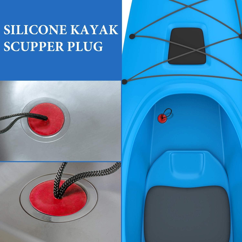 Red 12 Packs Universal Kayak Scupper Plug Kit for Native Kayaks Hobie Kayaks Wilderness Systems Kayaks Perception Kayaks and More