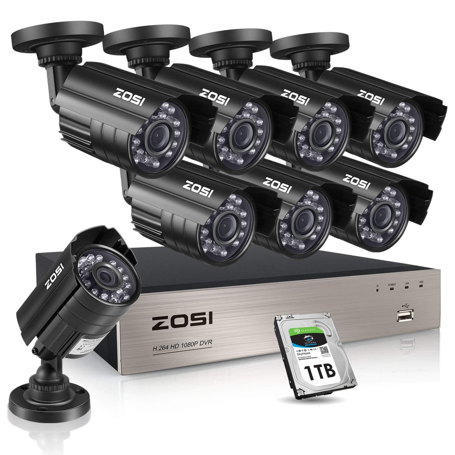 ZOSI 8CH 1080P Security Cameras System,8pcs 1080P Indoor Outdoor 1920TVL Weatherproof Surveillance Cameras, 8-Channel 1080P HD-TVI CCTV DVR System with 1TB Hard Drive for 24/7 Recording by ZOSI
