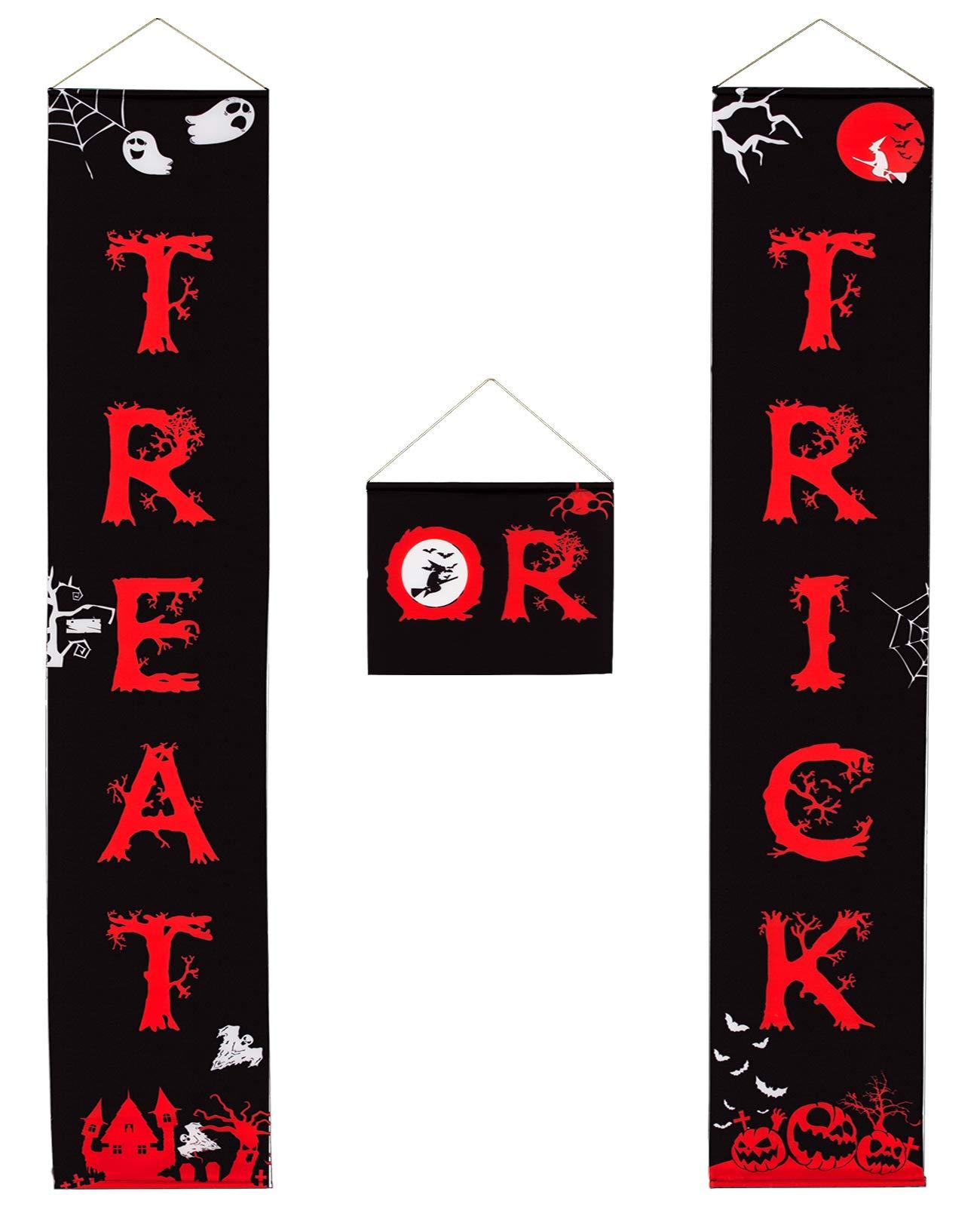MEWTOGO Halloween Trick or Treat Banners - Halloween Hanging Door Sign for Home Indoor/Outdoor Halloween Decor - Well-Designed Halloween Decorations for Ready to Welcome Kids