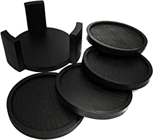 Coaster Set with Holder | Bamboo Wood | Includes 4 Round Coasters and one Holder | Use for Drinks, Beverages, Beer, Coffee! | Barware Kitchen | Housewarming (Black)