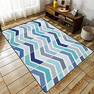 Classroom Rug,Modern,Seamless in Doodle Style Dots and Zigzag Pattern with Asymetrical Lines Image,Machine-Washable/Non-Slip Blue and White