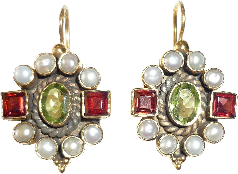 Pendientes de piedras preciosas peridoto verde granate rojo auténticas perlas de agua dulce colgante plata dorado artesanos Italia Vintage Unikat lujo elegante