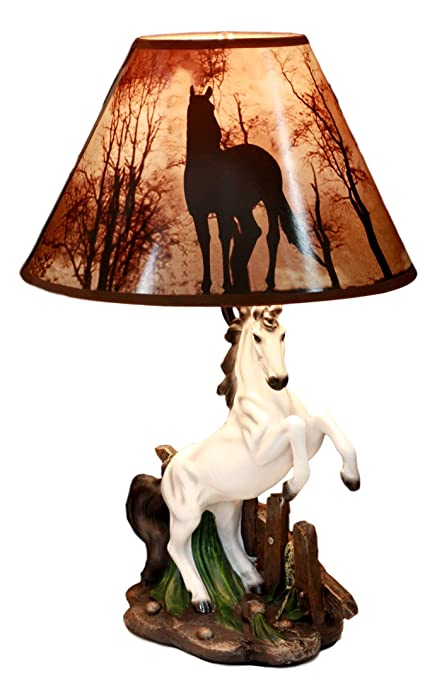 """Ebros Gift White Rearing Wild Horse Stallion Desktop Table Lamp with Nature Printed Shade Home Decor 19""""Tall As Rustic Country Home Decor Cabin Lodge Western Decorative Side Desktop Lamp"""
