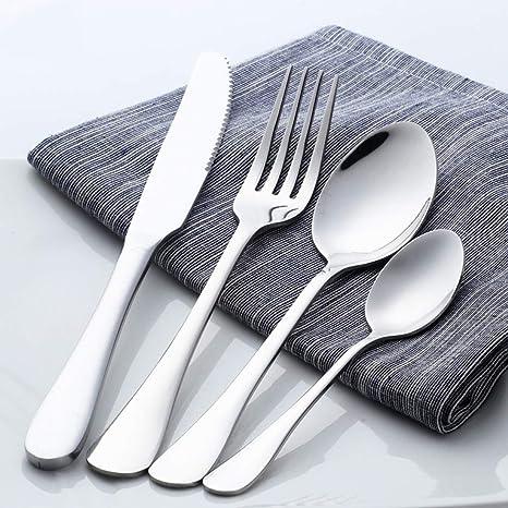 16 piezas Cuberteria vajilla para 4 cuchillos y tenedores acero inoxidable juego de cubiertos cubiertos