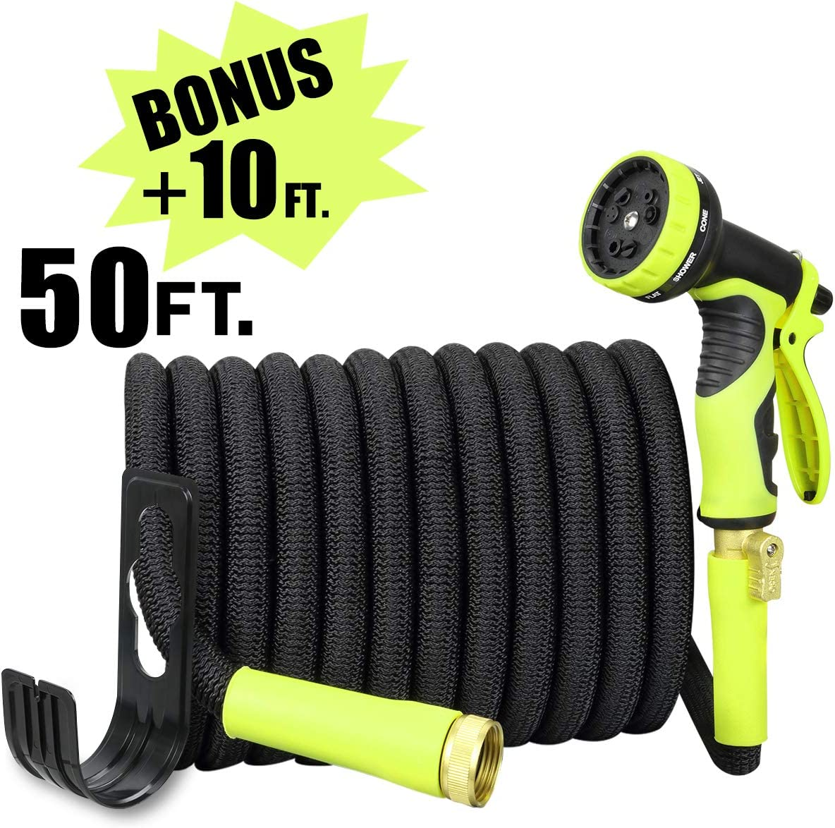 Sunflora 50 ft Expandable Garden Hose Bonus 10 feet with Solid Brass Fittings and 9 Patterns Spray Nozzle, Flexible No Kink Water Hoses for Lawn Total 60 Feet