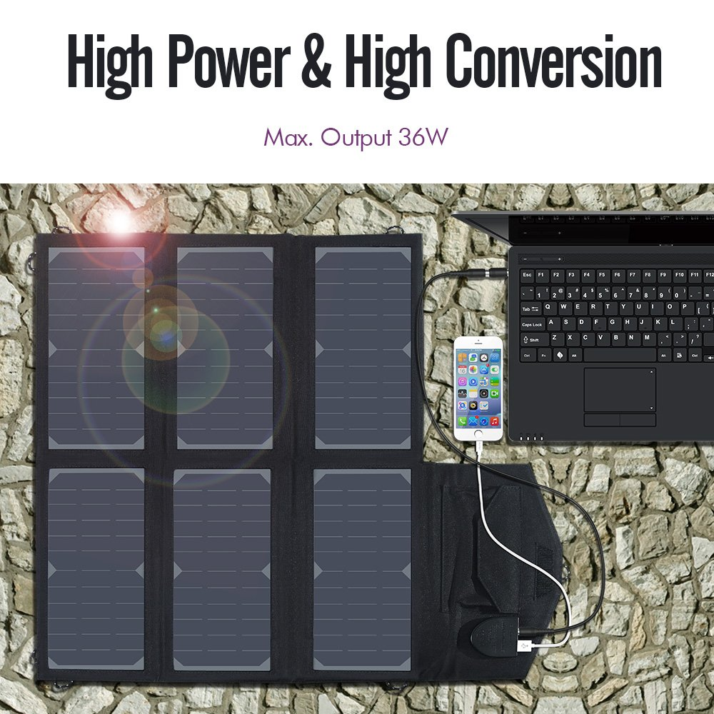 imuto 36W Solar Charger Solar Panel with 5V 2.7A USB Output + 18V 1.5A DC Output SunPower Foldable High Efficiency Charger for Laptop, iPad, iPhone, Samsung, Acer, Dell, HP, Lenovo and more by imuto (Image #2)