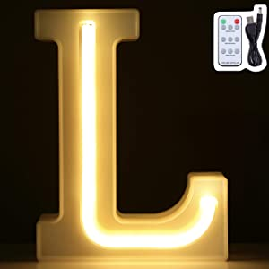LED Marquee Letter Lights, Warm White Neon Signs Wall Decor, Light Up for Home, Bedroom Decoration on Wedding, Birthday, Christmas, Confession, Multi-Function Remote Control, Battery/USB Powered (L)