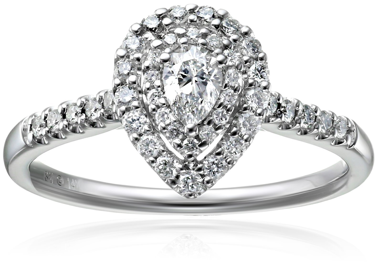 14k White Gold 1/2CTTW Diamond Pear Shape Halo Bridal Engagement Ring (1/2cttw, H-I Color, I2 Clarity), Size 7