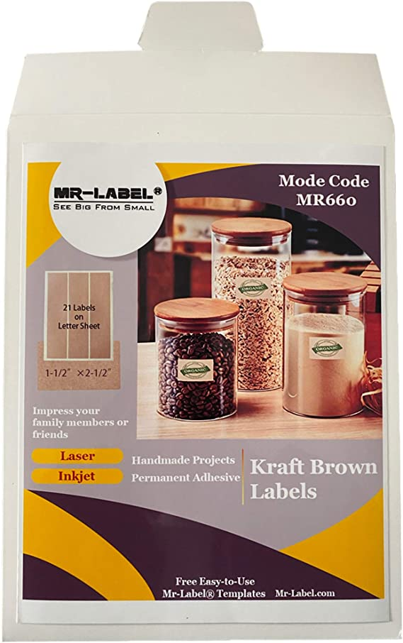 Greeting Card for Inkjet /& Laser Printer Hand Craft 120 Labels Self Adhesive Stickers for Gift Decoration Mr-Label 2 x 2 Square Labels Kraft Brown Labels