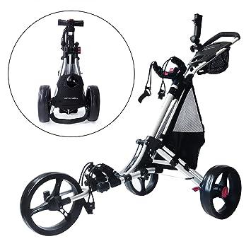 Trolem One Lock Easy Fold Carrito de Golf con 3 Ruedas Bolsa de Transporte Plateado: Amazon.es: Deportes y aire libre