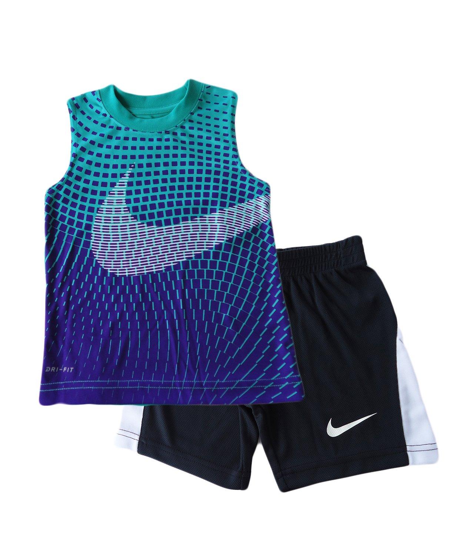 Nike Baby Boy Graphic Tee & Shorts Set (4T, Kinetic Green)