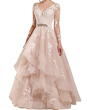 BessDress Lace Illusion Prom Dresses Ruffles Tulle Formal Evening Wedding Party Dresses BD470