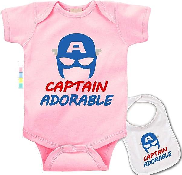 7e36c62f6 babybytes Captain Adorable-Cute Captain America Marvel Comics Baby Bodysuit  Onesie & Bib