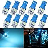 Grandview 10-Pack T10 501 W5W 194 168 Bleu Glace 5-SMD 5050 LED Intérieur de voiture, plaque de numéro, tableau de bord Ampoules de démarrage (12 V)