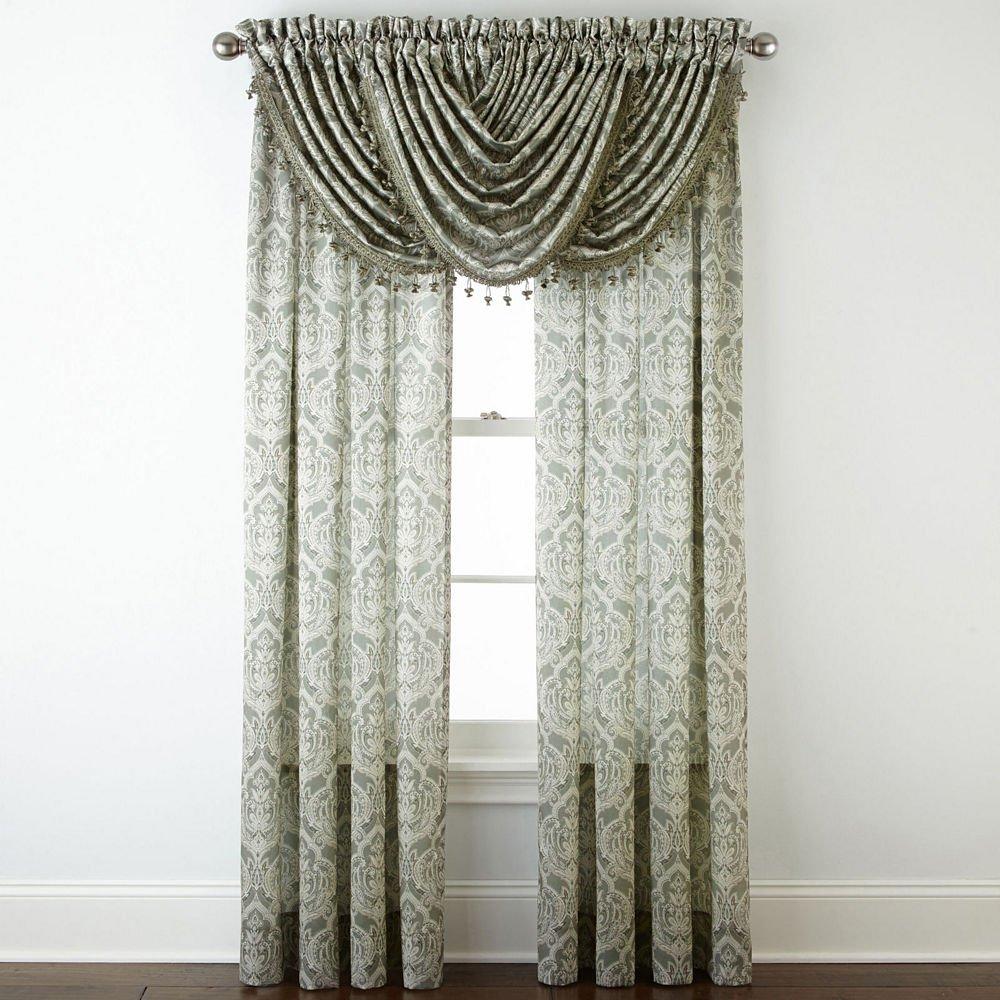 54 x 63 Evening Sage Royal Velvet Hilton Damask Rod-Pocket Curtain Panel