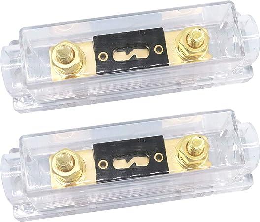 Zhiting 2 Stück Anl Sicherungshalter 300 Amp Vergoldete Sicherung 0 2 4 Gauge Anl Fuse Für Auto Fahrzeuge Audio 300a Auto