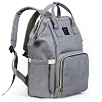 Diaper Bag Backpack, Tiscen Multi-Function Waterproof Baby Changing Bag, Large Capacity Travel Nappy Tote Bags for Baby Care, Gray