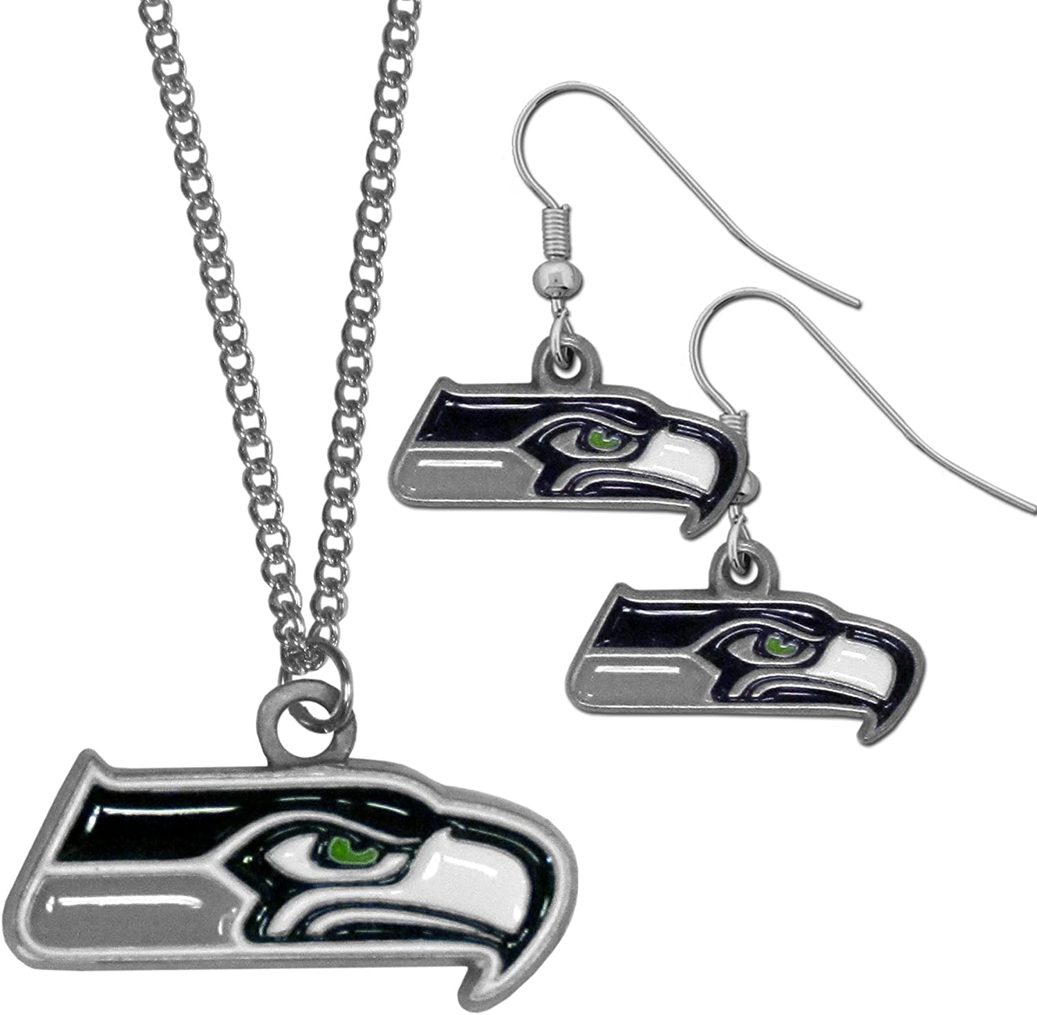 Blue NFL Seattle Seahawks Dangle Earrings /& Chain Necklace Set
