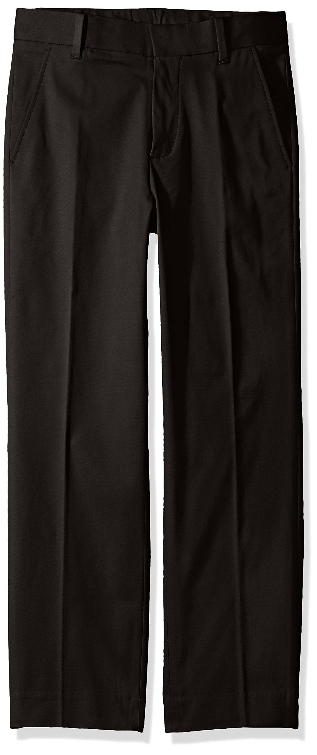 Calvin Klein Big Boys' Fine Line Stretch Twill Pant, Black, 8