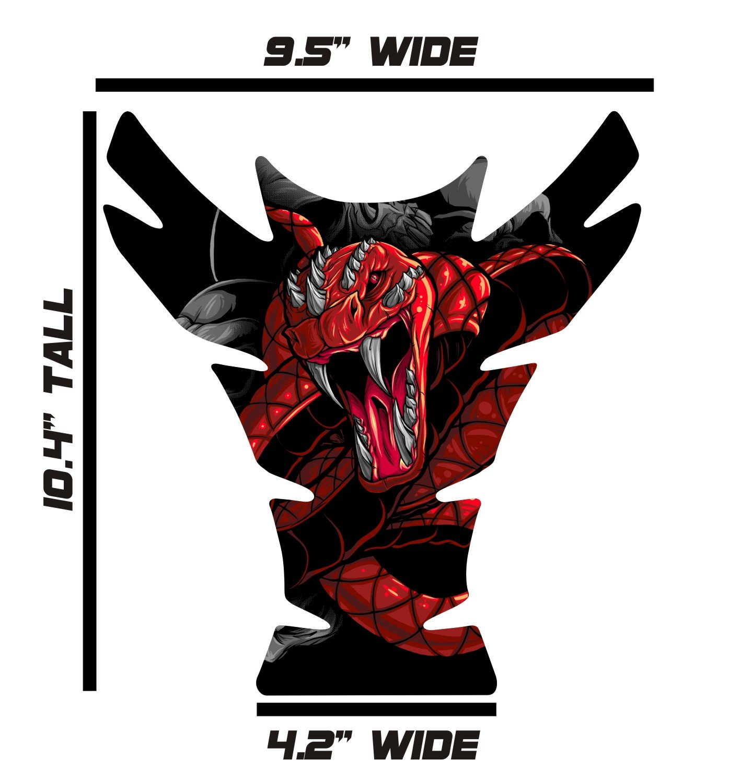 Large Universal Venom Snake Red 3D Gel Sportbike Motorcycle Gas Tank Pad Tankpad Protector Guard