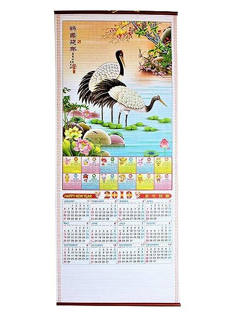 Horoscope Calendar.2019 Chinese New Year Zodiac Horoscope Scroll Crane Calendars Business Birthday Gift Usa Seller Sw 15