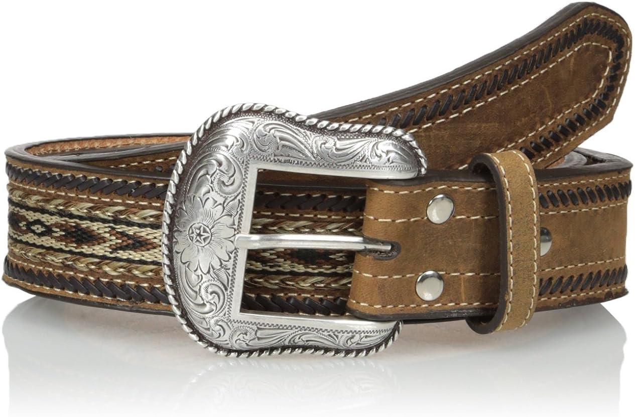 Nocona Mens Brown Ribbon-Lace Belt