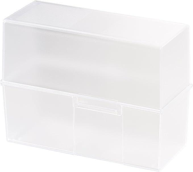 Han 975-63 - Caja para tarjetas (formato A5, capacidad para 450 tarjetas, plástico), color translúcido: Amazon.es: Oficina y papelería