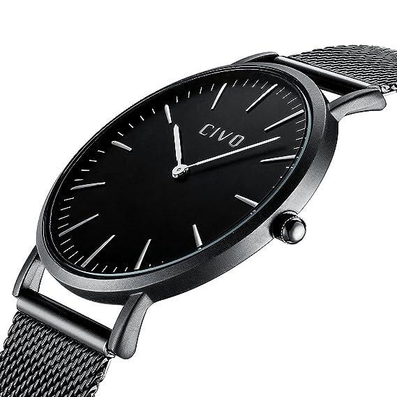 CIVO Unisex para Hombre Reloj para Mujer Ultra Thin Minimalista Moda de  Lujo Relojes con Negro 2c6300238b64