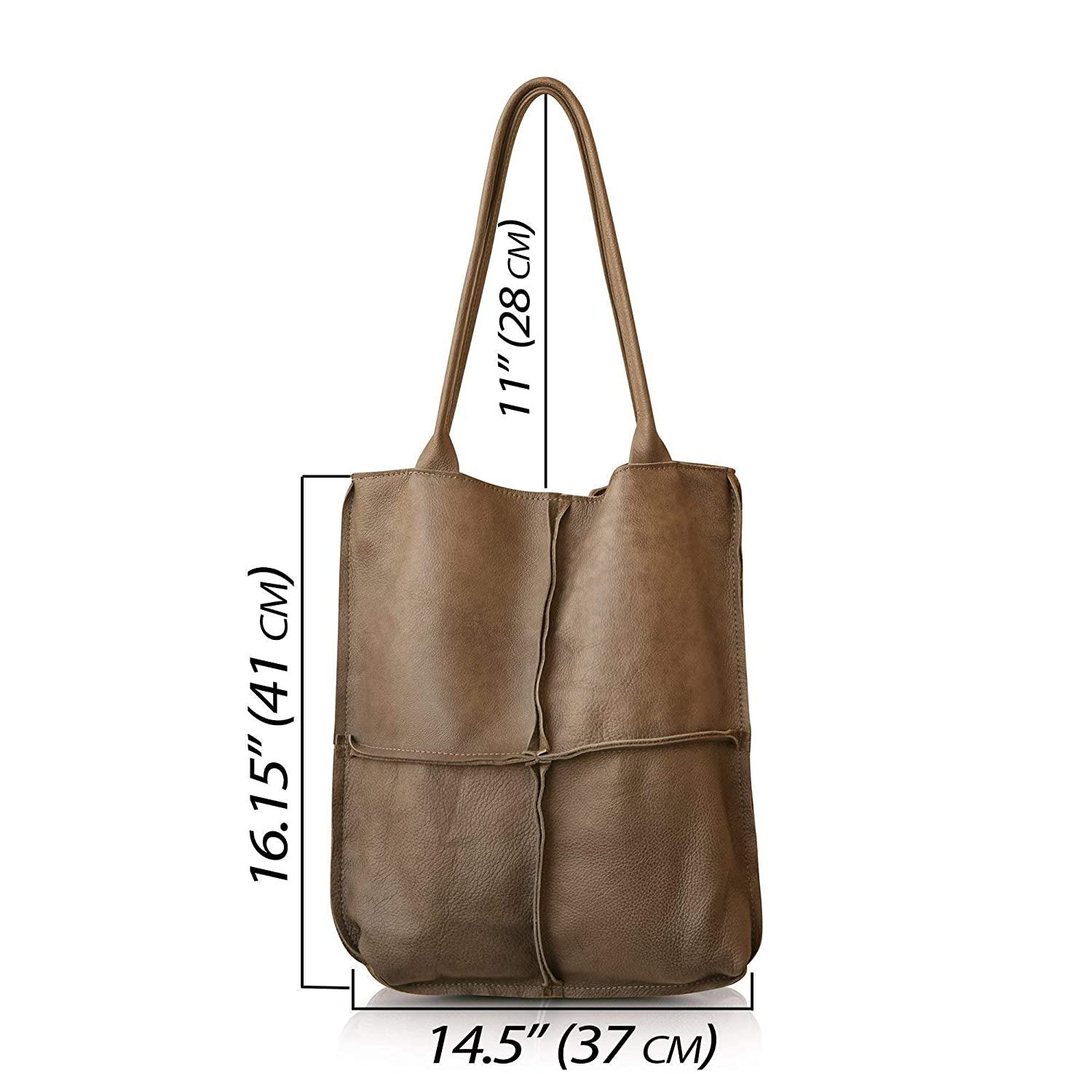 Amazon.com  Extra large durable leather tote shoulder bag for women ... 1750e52cb