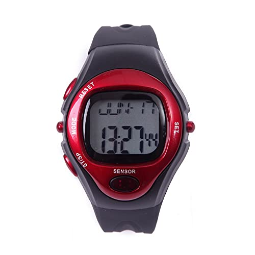 HDE Fitness Sports Pulse Watch with Heart Rate Monitor and Calorie Counter Weightloss Help (Red)